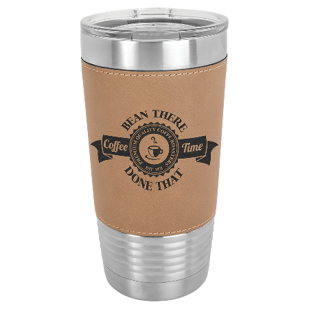 100 Customized 20 oz. Light Brown Laserable Leatherette Polar Camel Tumbler with Clear Lid.