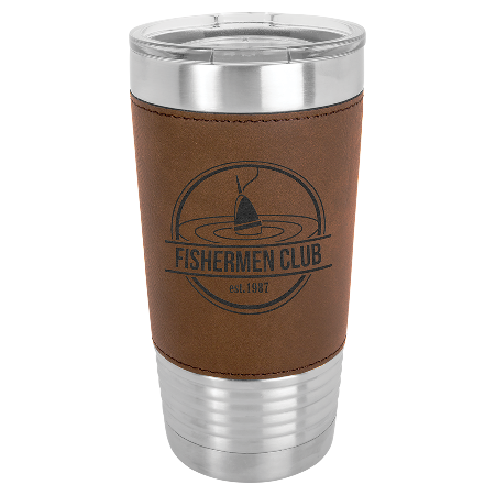 100 Customized 20 oz. Dark Brown Laserable Leatherette Polar Camel Tumbler with Clear Lid.