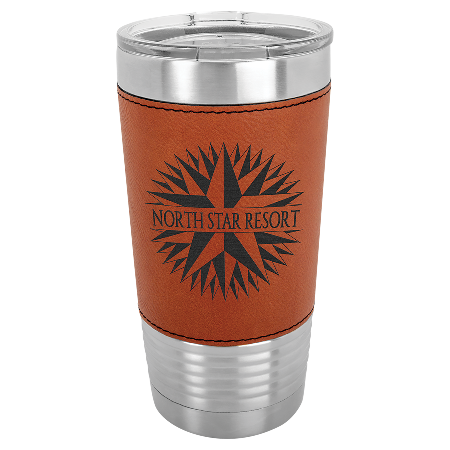 100 Customized 20 oz. Rawhide Laserable Leatherette Polar Camel Tumbler with Clear Lid.