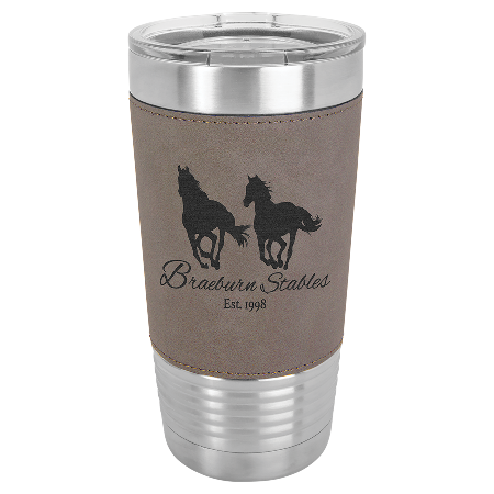 100 Customized 20 oz. Gray Laserable Leatherette Polar Camel Tumbler with Clear Lid.