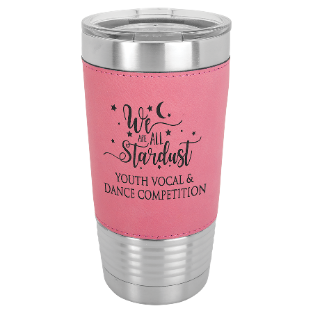 100 Customized 20 oz. Pink Laserable Leatherette Polar Camel Tumbler with Clear Lid.
