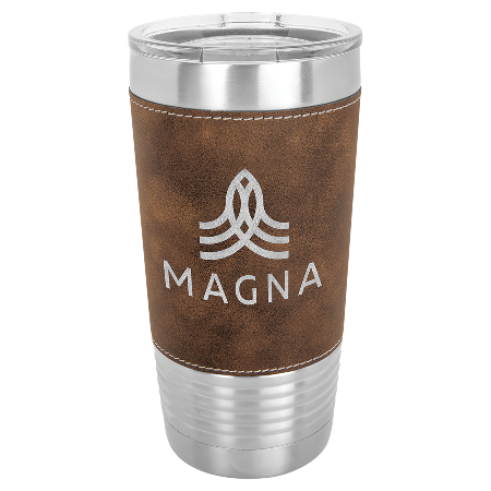 100 Customized 20 oz. Rustic/Silver Laserable Leatherette Polar Camel Tumbler with Clear Lid.