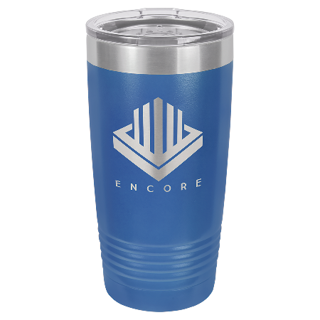 100 Customized Polar Camel 20 oz. Royal Blue Ringneck Vacuum Insulated Tumbler w/Clear Lid.