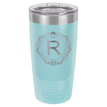 100 Customized Polar Camel 20 oz. Light Blue Ringneck Vacuum Insulated Tumbler w/Clear Lid.