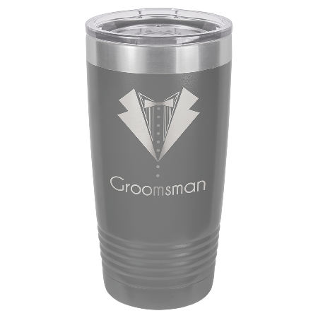 100 Customized Polar Camel 20 oz. Dark Gray Ringneck Vacuum Insulated Tumbler w/Clear Lid.