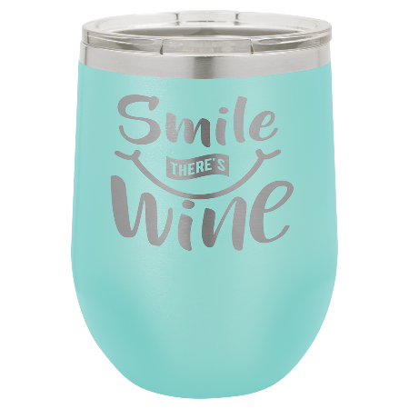 100 Customized Polar Camel 12 oz. Matte Teal Vacuum Insulated Stemless Wine Tumbler w/lid.