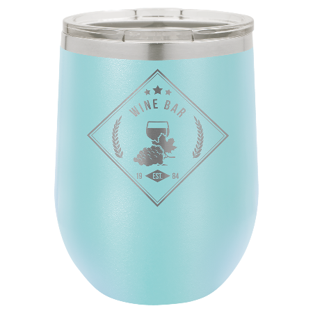 100 Customized Polar Camel 12 oz. Matte Light Blue Vacuum Insulated Stemless Wine Tumbler w/Lid.