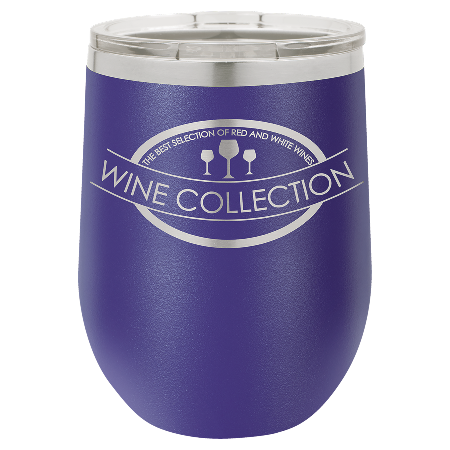 100 Customized Polar Camel 12 oz. Matte Purple Vacuum Insulated Stemless Wine Tumbler w/Lid.