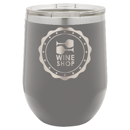100 Customized Polar Camel 12 oz. Matte Dark Gray Vacuum Insulated Stemless Wine Tumbler w/Lid.