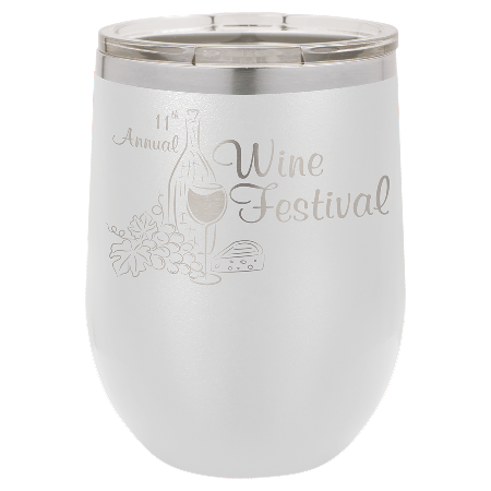 100 Customized Polar Camel 12 oz. Matte White Vacuum Insulated Stemless Wine Tumbler w/Lid.