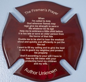 Fireman Prayer on Maltese Cross 12 inch by 12 Inch Mount Ready