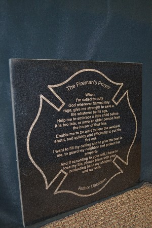 "Firefighter Prayer on Black Granite Tile 12"" by 12"""