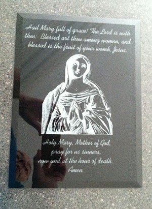 "Hail Marry Mirror 8"" by 10"" Reverse Engraved on a Black Mirror with Free Shipping in US"