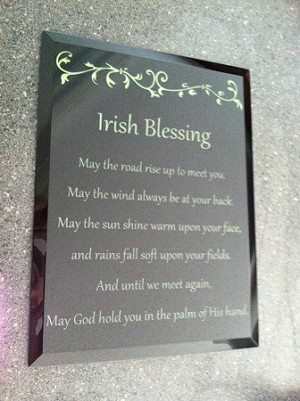 Irish Blessing on Black Mirror Reverse Engraved 8 Inch by 12 Inch with Free Shipping