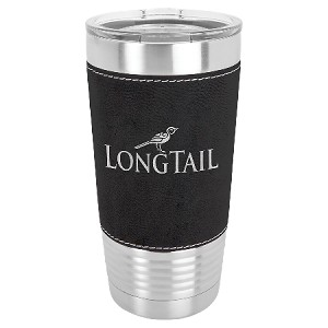 100 Customized 20 oz. Black/Silver Laserable Leatherette Polar Camel Tumbler with Clear Lid.
