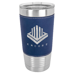 100 Customized 20 oz. Blue/Silver Laserable Leatherette Polar Camel Tumbler with Clear Lid.