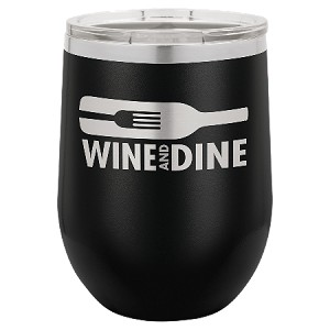 100 Customized Polar Camel 12 oz. Matte Black Vacuum Insulated Stemless Wine Tumbler w/Lid.