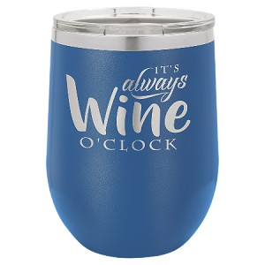 100 Customized Polar Camel 12 oz. Matte Royal Blue Vacuum Insulated Stemless Wine Tumbler w/Lid.