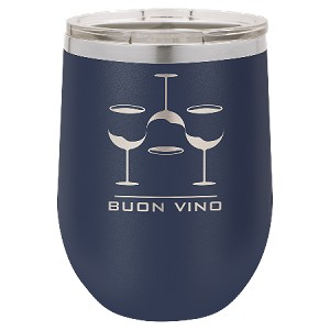 100 Customized Polar Camel 12 oz. Matte Navy Blue Vacuum Insulated Stemless Wine Tumbler w/Lid.
